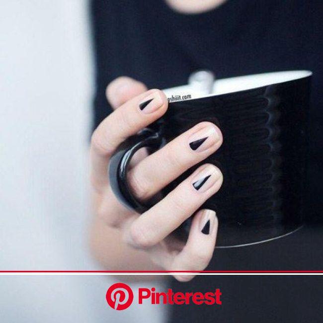 Nail Ideas: The Half-Moon Mani Gets a (Sharp) Twist | Minimal nails art, Simple nail art designs, Minimal nails