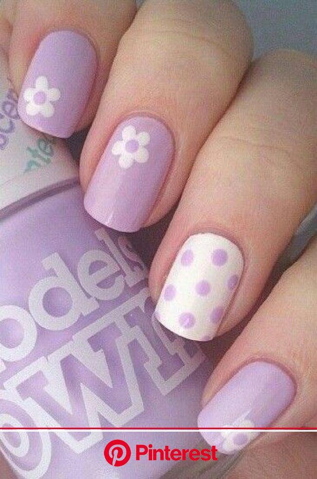 Pastel lila + flores + lunares http://amzn.to/2sD0Po8 | Vernis à ongles, Idées vernis à ongles, Couleurs de vernis à ongles