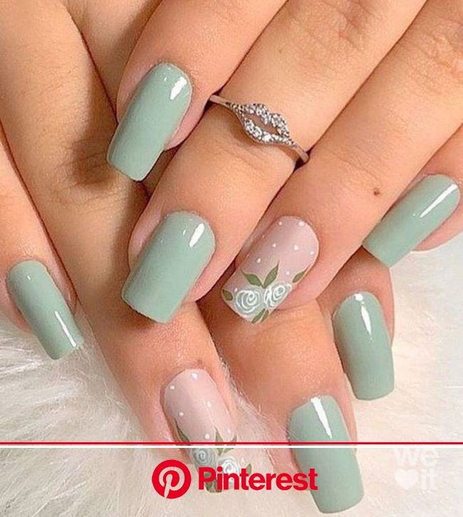 20+ Prettiest Summer Nail Colors of 2021 | in 2021 | Green nail art, Mint nails, Green nails