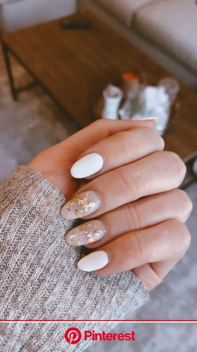 White + gold foil mani | Cute gel nails, White gel nails, Dry nails