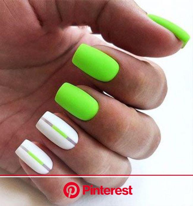77 Bright Neon Nails to Try This Summer | LOVIKA | Зеленые ногти, Неоновые ногти, Ногти
