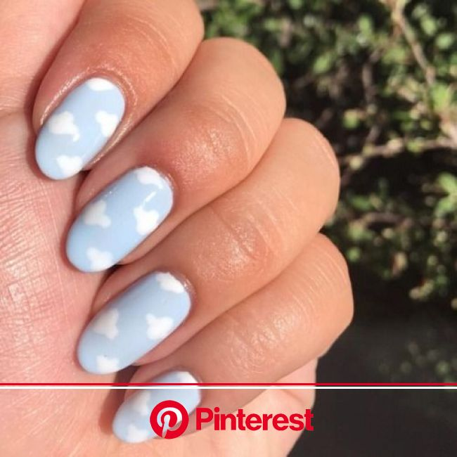 This new patten has us on Cloud Nine. ☁️????☁️ #OliveYourMani #rg @nails.bysam Color Match: Blue Orchid and Misty Morning… | Minimalist nails, Dream n
