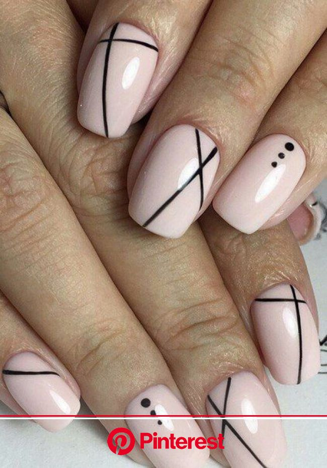 Pink W Simple Black Design Line Nail Designs Lines On Nails Simple Nails Clara Beauty My