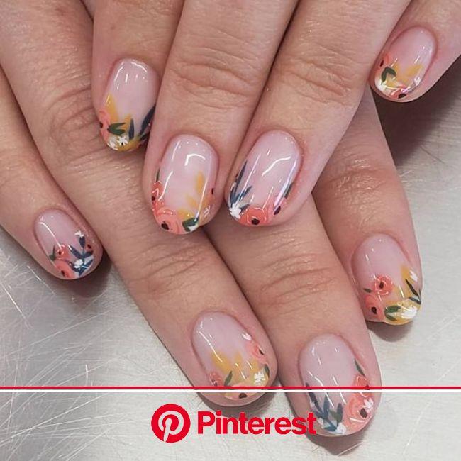 20 Manicuras francesas con flores para recibir la primavera en 2020 | Diseño de uñas mate, Manicura de uñas, Manicura para uñas cortas