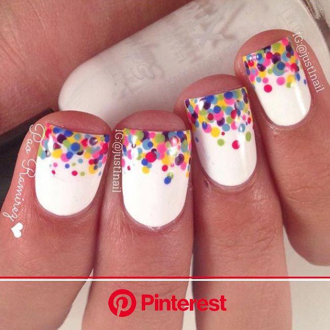 80 Nail Designs for Short Nails | StayGlam | Dot nail designs, Confetti nails, Polka dot nail designs