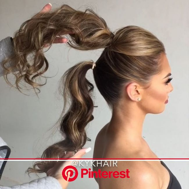 Trick to Create Longer Ponytail by @kykhair ???? Play Share and Enjoy  ______________________________  Styling Tool @h2…   Hair hacks, Medium hair sty
