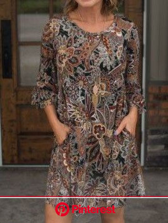 3/4 Sleeve Jacquard Holiday Dresses in 2021 | Over 60 fashion, Fashion, Dresses casual fall