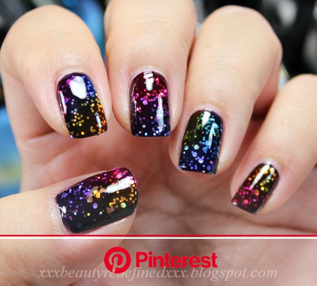 Rainbow Jelly Nail Look (BeautyRedefined by Pang) | Black nails with glitter, Nail designs glitter, Glitter nails