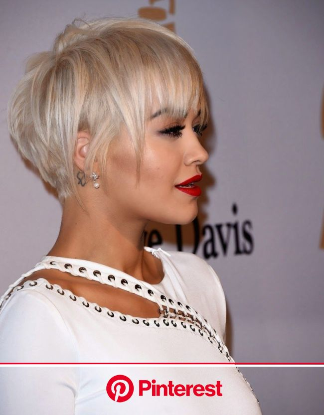 Rita Ora in a glamorous white gown at the Annual Clive Davis Pre-Grammys Gala in Beverly Hills | Hair styles, Short hair updo, Short hair styles