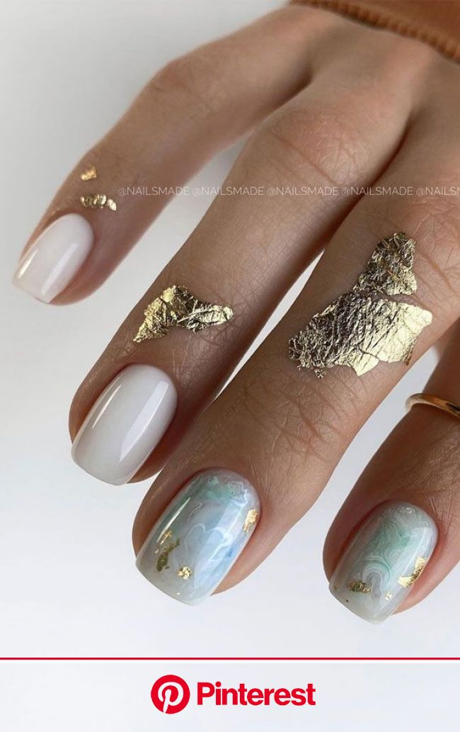 39 Chic Nail Design Ideas For Summer – Milky green marble nails in 2020 | Chic nails, Stylish nails, Short acrylic nails