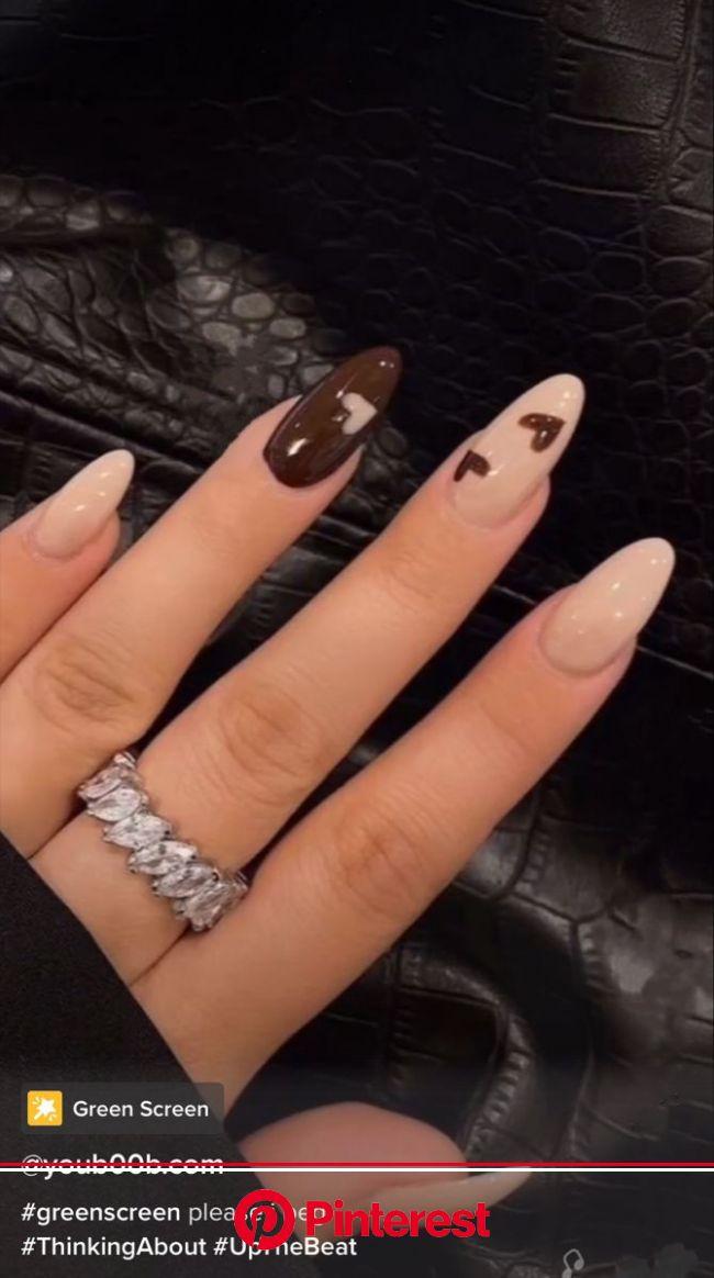 brown nails   Brown acrylic nails, Acrylic nails coffin short, Tan nails