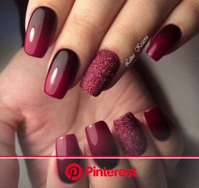 23 Gorgeous Glitter Nail Ideas for the Holidays | Page 2 of 2 | StayGlam | Manicure nail designs, Nail art ombre, Burgundy nails