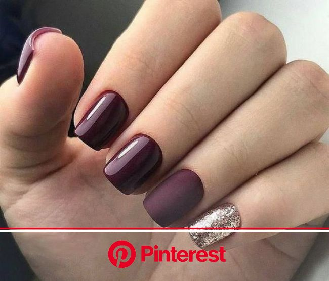 55+ Trendy Manicure Ideas In Fall Nail Colors | Burgundy nails, Burgundy nail designs, Purple nails
