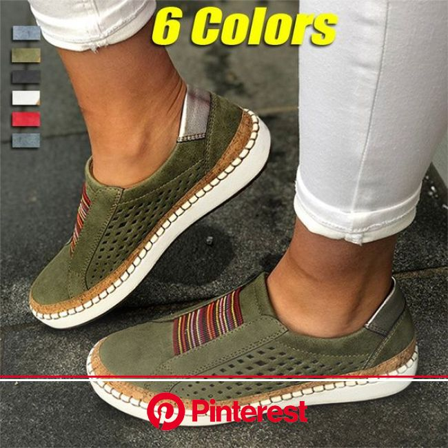 Ladies Fashion Breathable Round Toe Hollow-Out Leather Loafers Shoes Sneakers Plus Size Women Casual Flats Shoes | Wish in 2021 | Women casual flats,