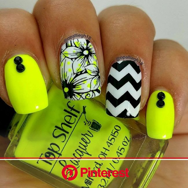 Neon for summer- Nailstamping - neon polka dots under the flowers | Yellow nails, Neon nails, Trendy nails
