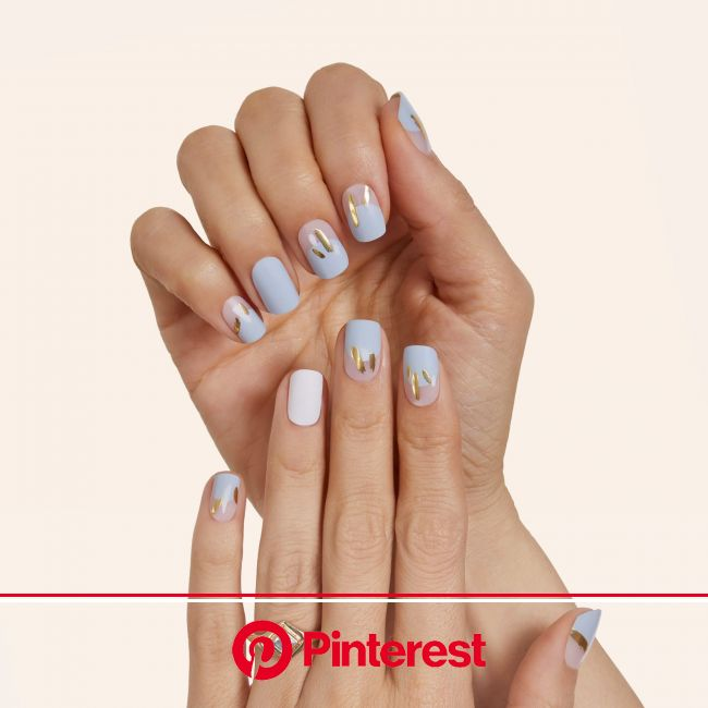 Something Blue in 2021 | Subtle nails, Cute simple nails, Blue and white nails