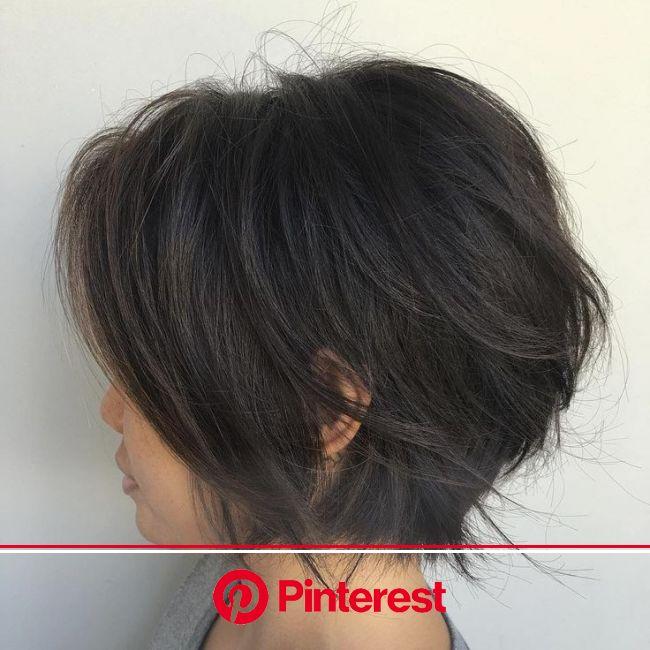 Short+Black+Layered+Bob | Hair styles, Short hair styles, Thick hair styles