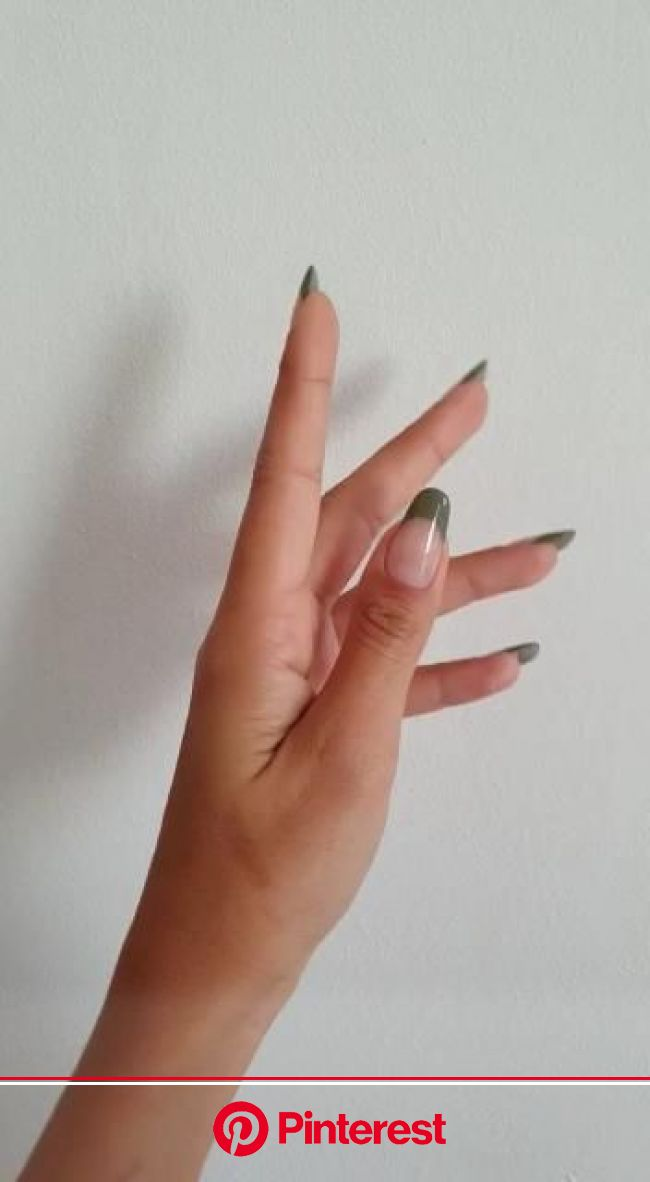 Green Fall French Nails [Video] | Unghie minimaliste, Idee per unghie, Unghie con french manicure