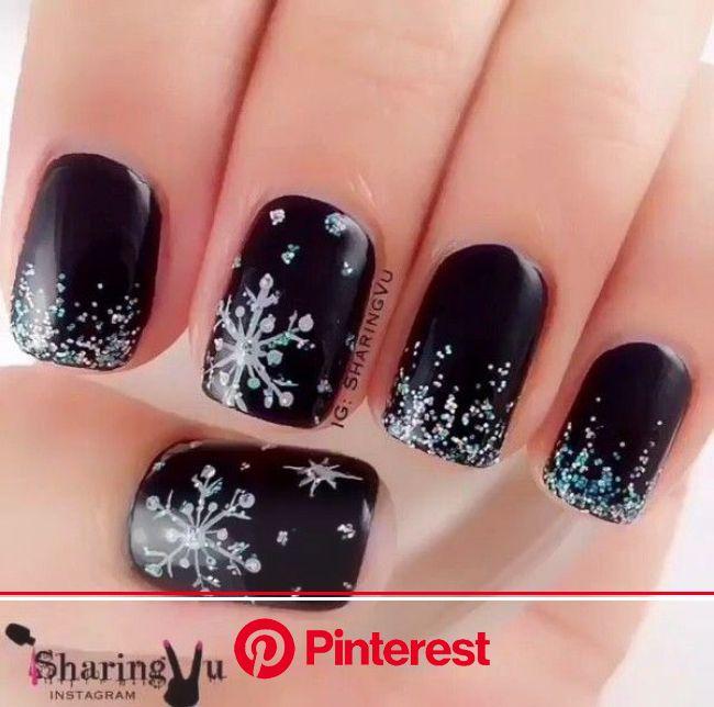 Black Snowflake Manicure | Snowflake nail design, Snowflake nail art, Trendy nails