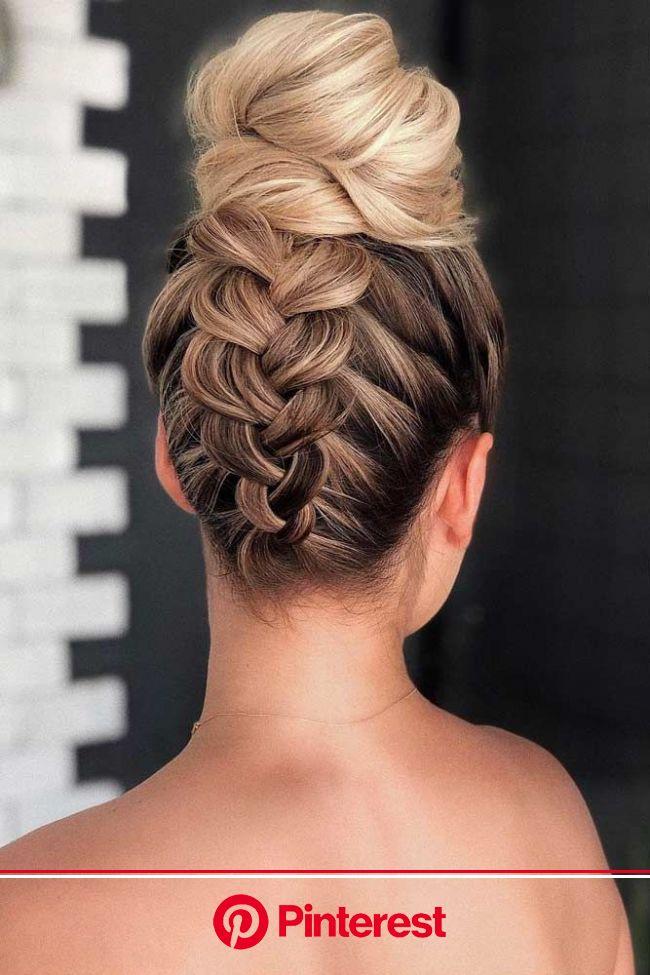 Braid Into High Bun #updo #mediumhair #hairstyles ❤ Check out these popular updo hairstyles for … | Braided prom hair, Medium length hair styles, Medi