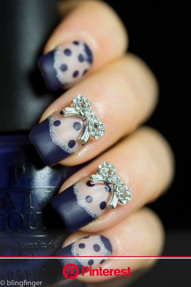 20 Unique Nail Art Ideas and Designs for New Year's Eve | Bow nail art, Bow nail designs, Cute nail art designs