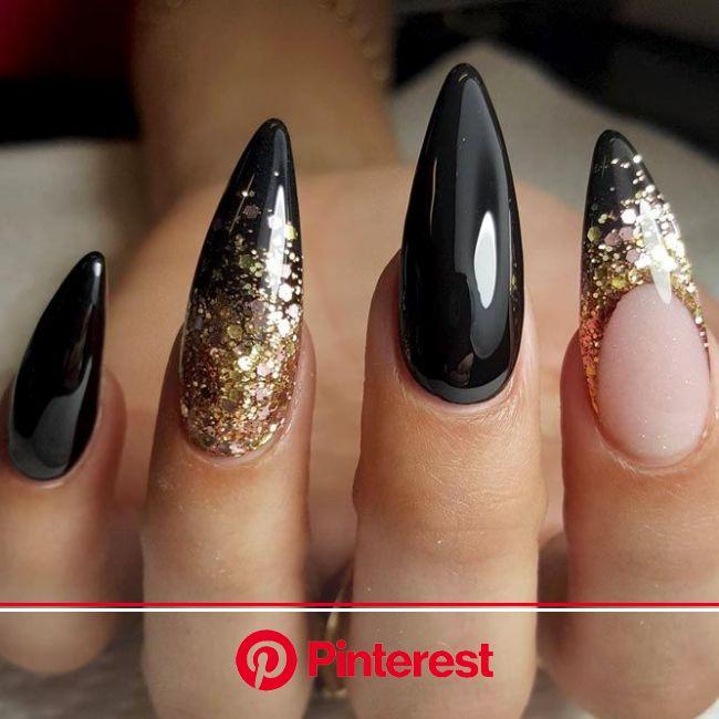 The Impact Of Gold Glitter On Luxe Nails | NailDesignsJournal.com | Gold stiletto nails, Stiletto nails designs, Nail designs