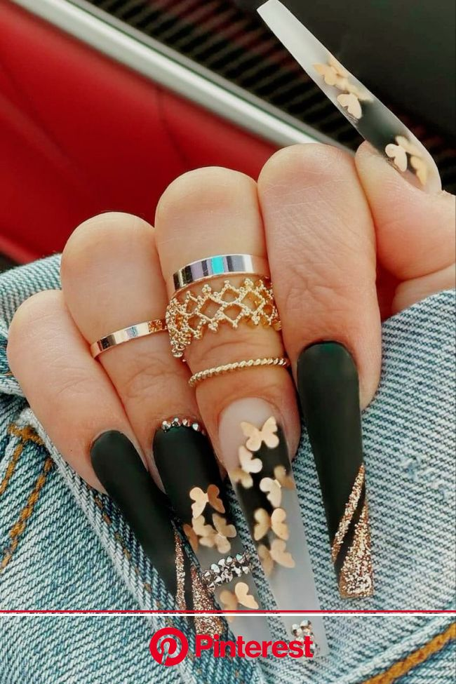 Gold Butterfly Coffin Nails in 2021 | Fashion nails, Long acrylic nails, Bling acrylic nails
