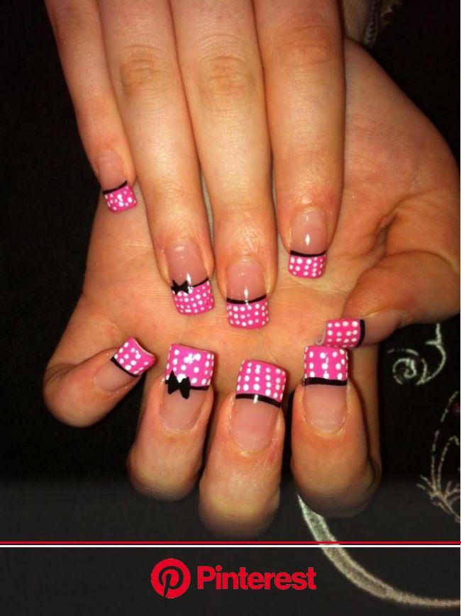 pink and white polka dots with black bows | Fake nails designs, Nail art manicure, Wow nails