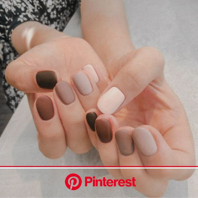 Love the different shades of brown on these nails.  Would you like these? #nailinspo #nails #salon #style | Essie nagellack, Nagellack, Herbst nägel