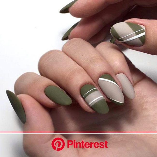 50+ Fall Nail Art Designs To Boost Mood | NailDesignsJourna.com | Matte nails design, Neutral nail art, Green nail art