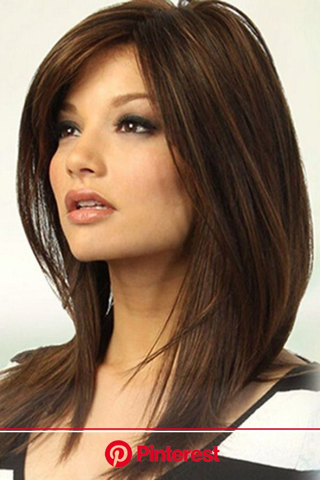Brown Medium Straight Side Part Synthetic Wig | Thick hair styles, Hair styles, Medium length hair styles
