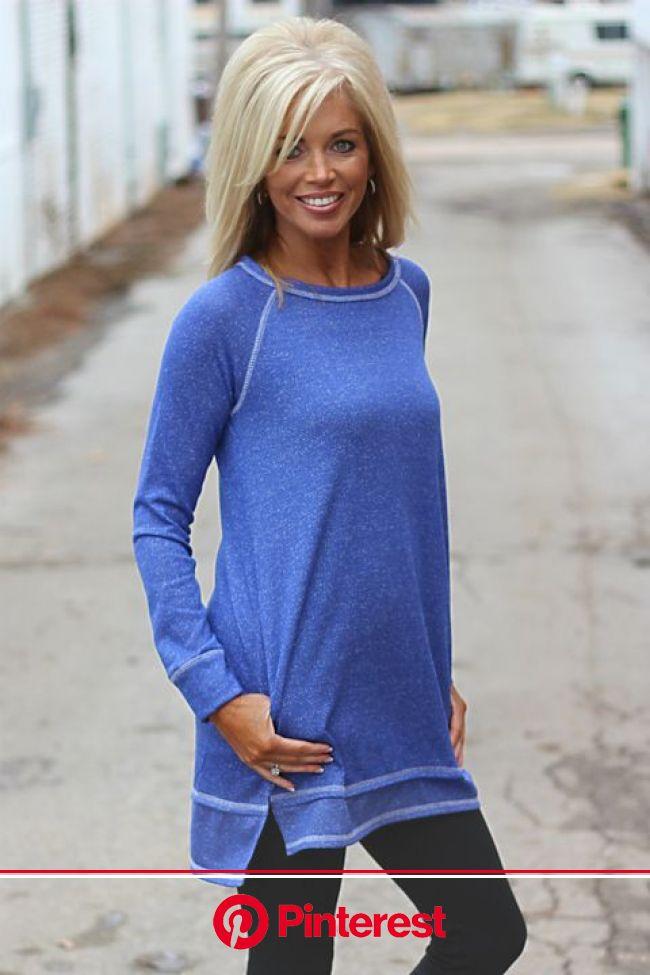 In A Days Rest Heavy Stitched Sweatshirt ~ Blue | Trendy boutique clothing, Short blonde hair, Medium hair styles