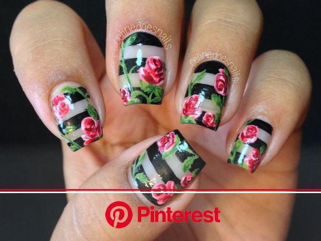Nailpolis Museum of Nail Art | Negative Space Rose Nail Art by Celine Peña | Rose nail art, Rose nails, Rose nail design