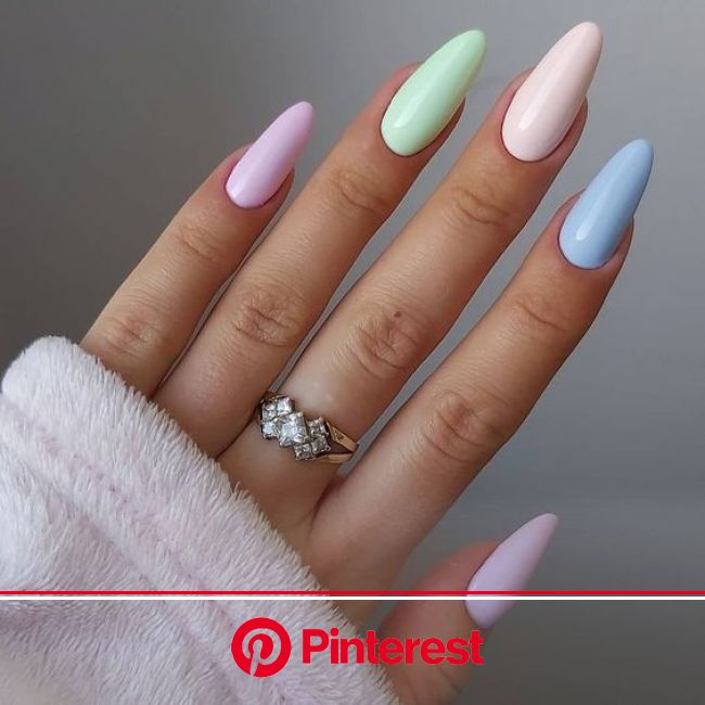 Pretty Spring Nail Designs for 2021 - Classically Cait in 2021 | Minimalist nails, Almond acrylic nails, Short acrylic nails