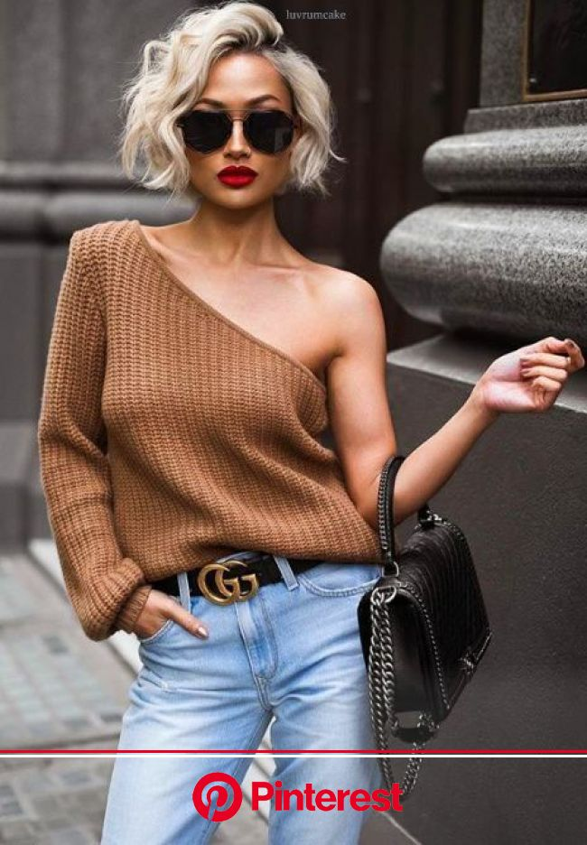 Cushnie One Sleeve Knit Top | Short blonde hair, Fashion, Short hair styles