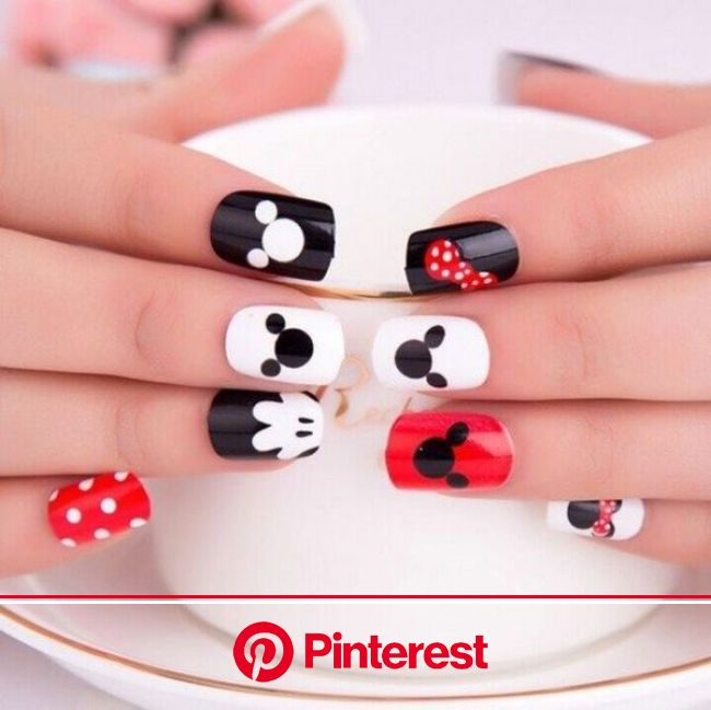 60 Creative Cartoon Inspired Nail Art Ideas » EcstasyCoffee | Mickey nails, Mickey mouse nails, Mickey mouse nail art