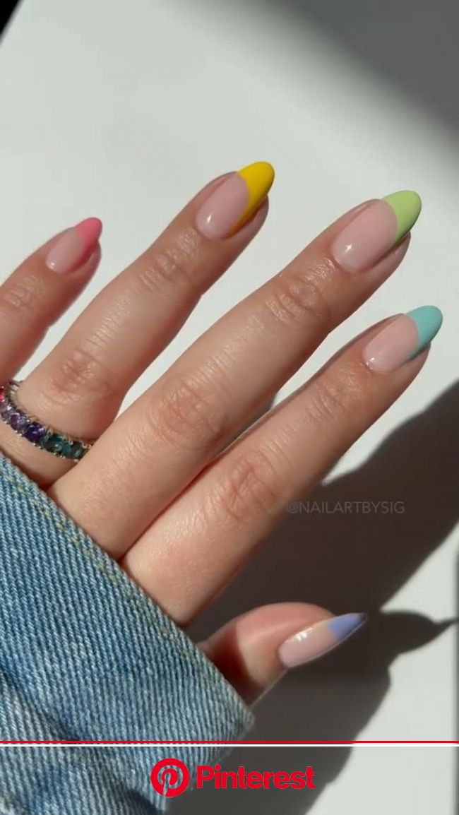 Pastel Asymmetrical Frenchies [Video] in 2021 | French nails, Nails, Rainbow nails