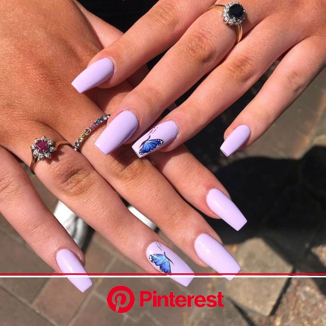 31 Best Butterfly Nails | Butterfly Nail Art Design | Lilac nails, Lilac nails design, Purple acrylic nails