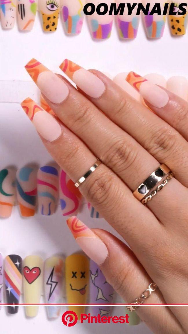 Summer Pastel Design Fake Nails New In! [Video] in 2021 | Nail art, Nails, Nail designs
