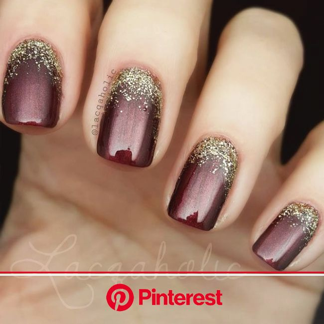 The Impact Of Gold Glitter On Luxe Nails | NailDesignsJournal.com | Wedding nails glitter, Gold glitter nails, Maroon nails