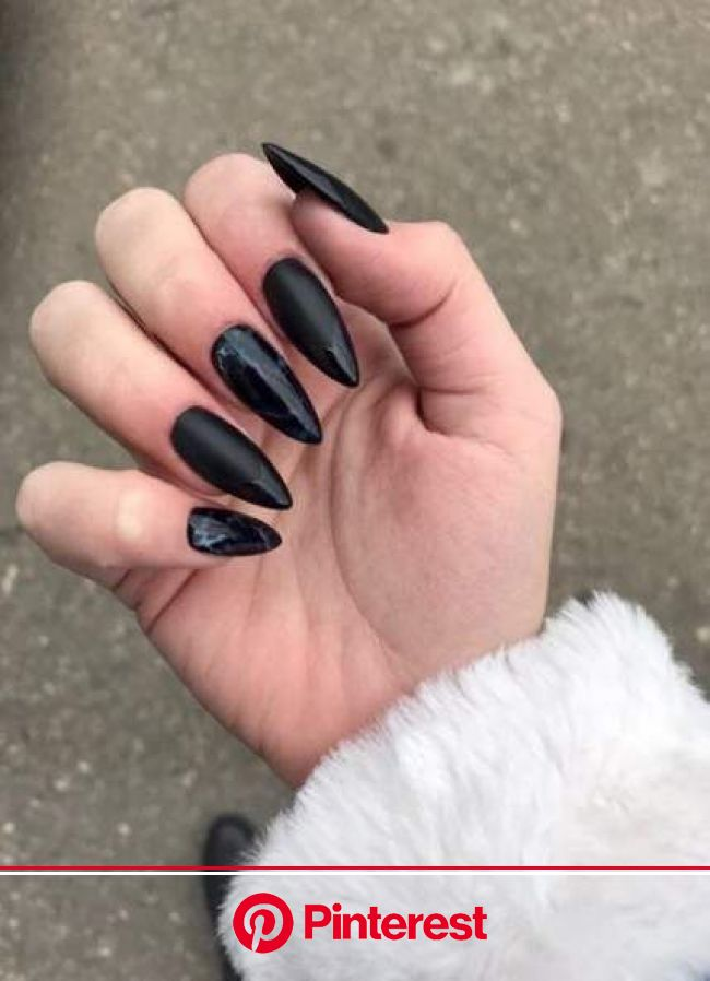 64 trendy nails art stiletto design black | Long almond nails, Stiletto nails designs, Black coffin nails