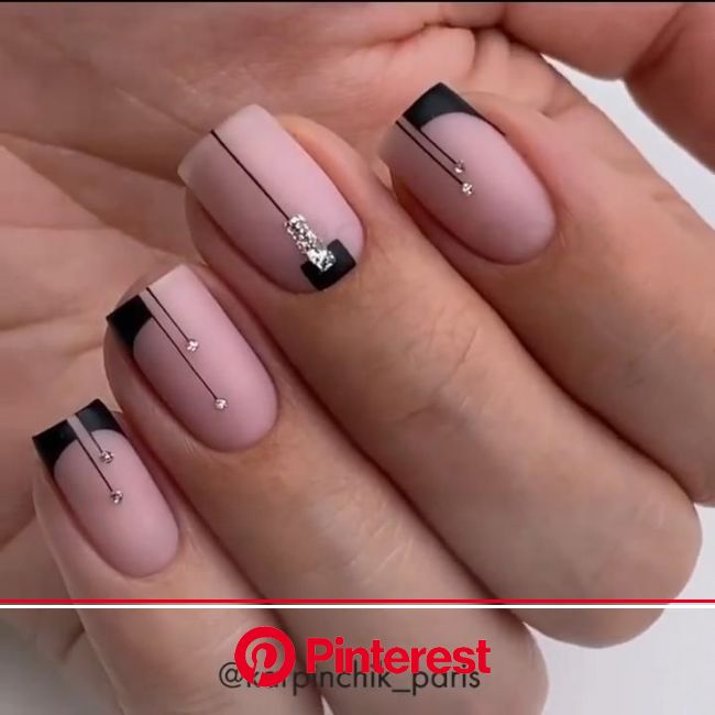 The Graphic French [Video] in 2021 | Gel nails, Rhinestone nails, Sparkly nails