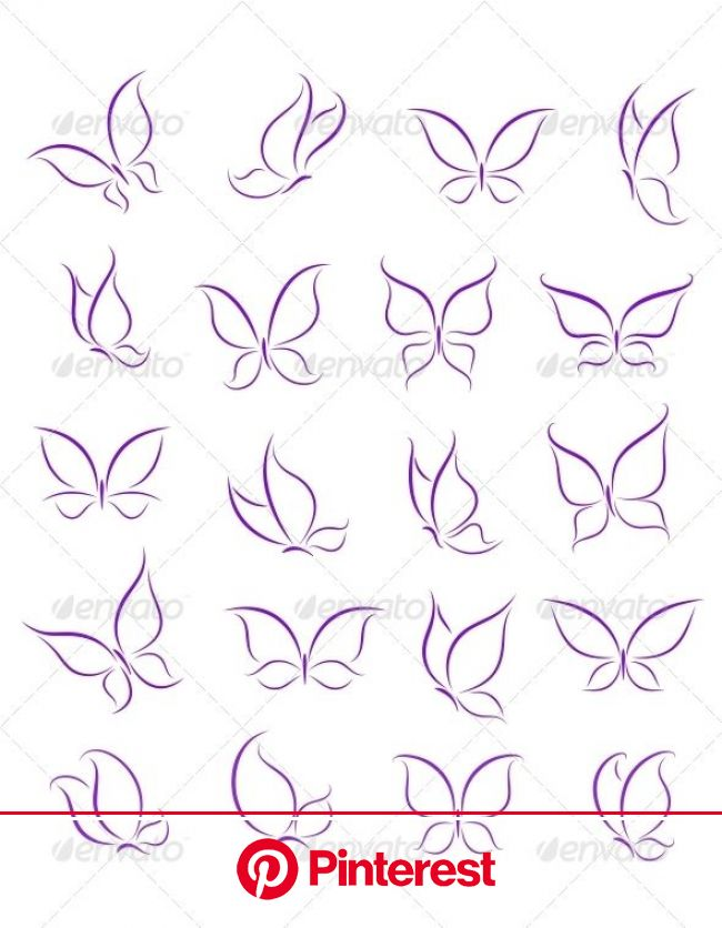 Butterfly Silhouettes Set   Butterfly tattoo designs, Butterfly outline, Butterfly tattoo