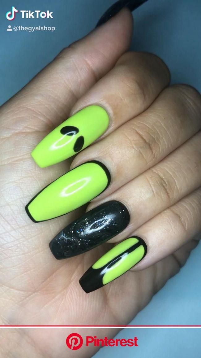 Shop Alien Press On Nails by Gyal on ETSY [Video] | Grunge nails, Gel nails, Long nails