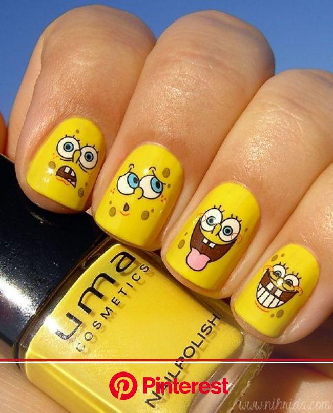 SpongeBob Squarepants Manicure   Spongebob nails, Disney acrylic nails, Spongebob nail art