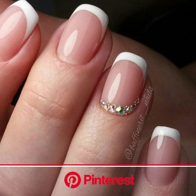 Маникюр | Ногти | Розово-белые ногти, Розовые ногти, Дизайн ногтей с блестками