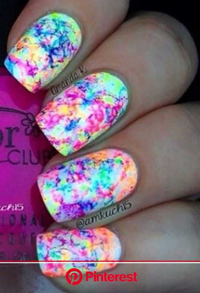 Nail polish,  at youtube.com - Wheretoget | Splatter nails, Cute nails, Kids nail designs
