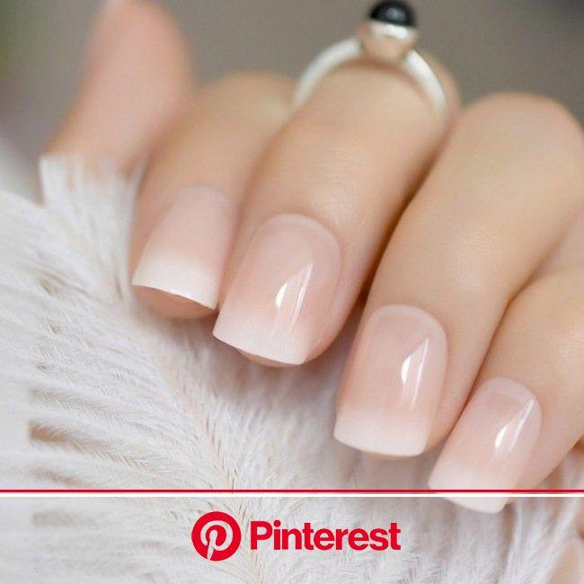 Fake Nails glossy is a normal size full cover matte Natural | Etsy in 2020 | Natural fake nails, Short french nails, Baby boomers nails