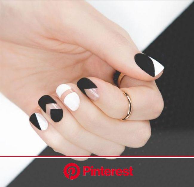10 diseños de uñas discretas y elegantes para la oficina - Mujer de 10: Guía real para la mujer actual. Entérate ya. | Uñas negras con blanco, Manicur