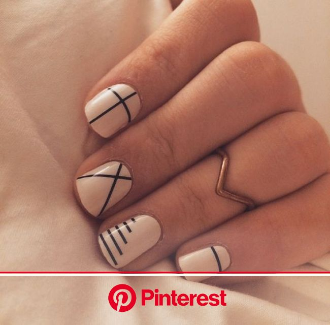 Line Art Is This Season's Easiest Manicure Trend (With images) | Lines on nails, Simple fall nails, Geometric nail